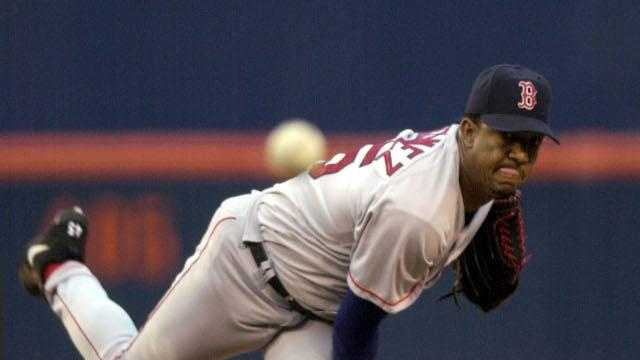 Boston Red Sox starter Pedro Martinez pitches in the first inning of his start against the San Diego Padres Thursday June 20, 2002 in San Diego. Martinez struck out the first five batters he faced.