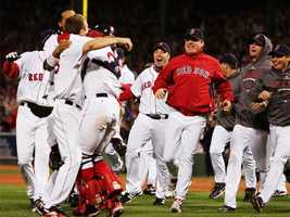 Schilling and the Red Sox celebrate after defeating the Cleveland Indians to win the American League Championship Series in 2007.