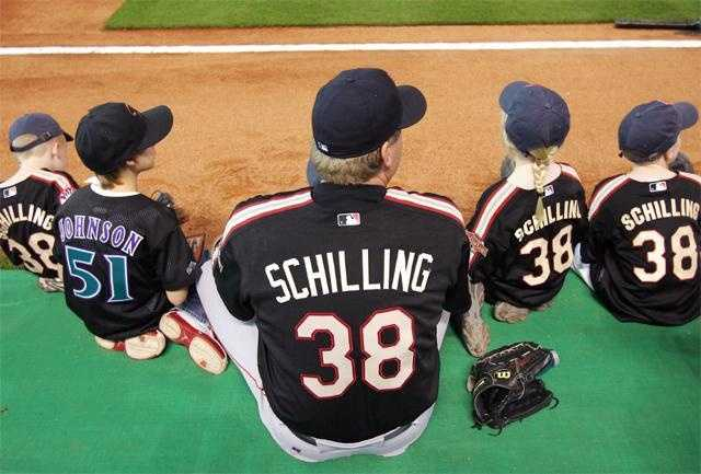 Schilling and his and Randy Johnson's children before the Home Run Derby on July 12, 2004.