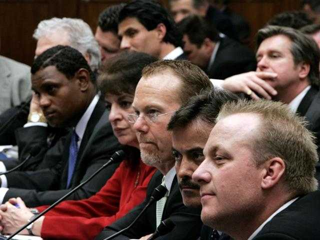 Schilling testifies before the Congressional steroid hearings, March 17, 2005 with Jose Canseco, Sammy Sosa, Mark McGwire and Rafael Palmeiro.