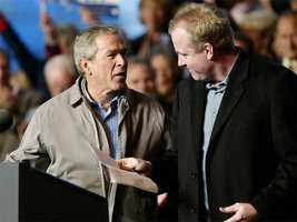President George W. Bush is introduced by Schilling during a campaign rally November 1, 2004.
