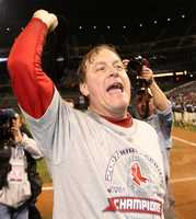 Schilling celebrates after winning the 2007 World Series in a four game sweep of the Colorado Rockies.
