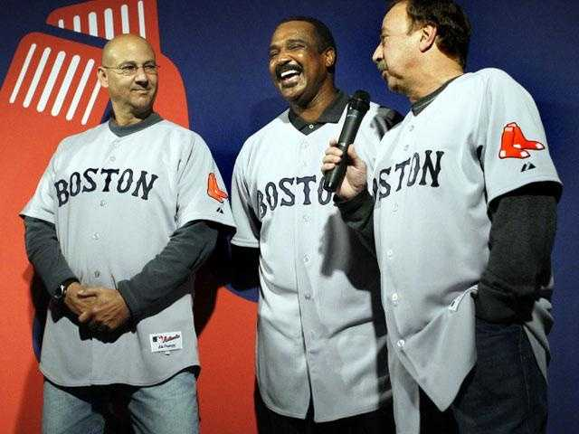 Terry Francona, Jim Rice and Remy wearing the new primary road uniform jersey, Dec. 11, 2008.