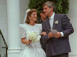 Caroline Kennedy and Edwin Schlossberg on their wedding day in Centerville, Mass. July 19, 1986