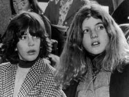 John Kennedy Jr. and his sister Caroline at a Senate hearing in Boston Feb. 23, 1974.