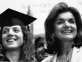 Caroline Kennedy and her mother smile following Caroline's graduation ceremony at Harvard University on June 5, 1980.