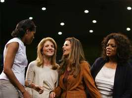 Caroline Kennedy with Michelle Obama, Maria Shriver and Oprah Winfrey at a campaign rally in Los Angeles, February 3, 2008.