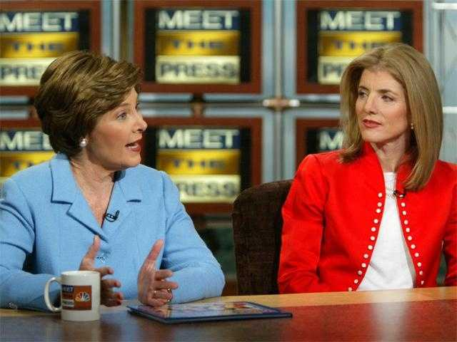 Caroline Kennedy appears with First Lady Laura Bush on 'Meet The Press' on December 28, 2003.