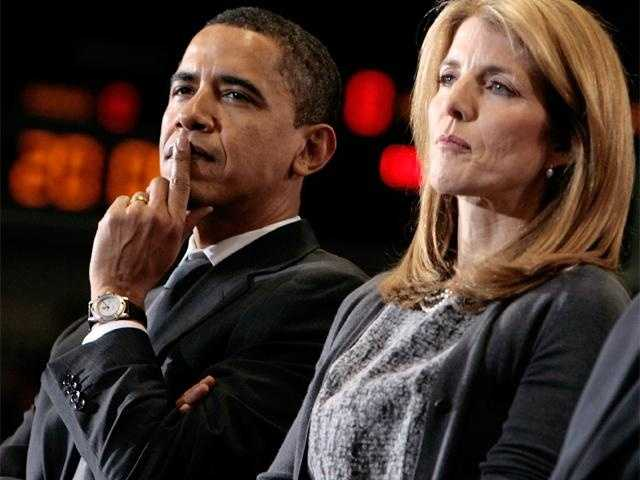 Caroline Kennedy sits with then-Presidential candidate Barack Obama after endorsing him in Washington, January 28, 2008.