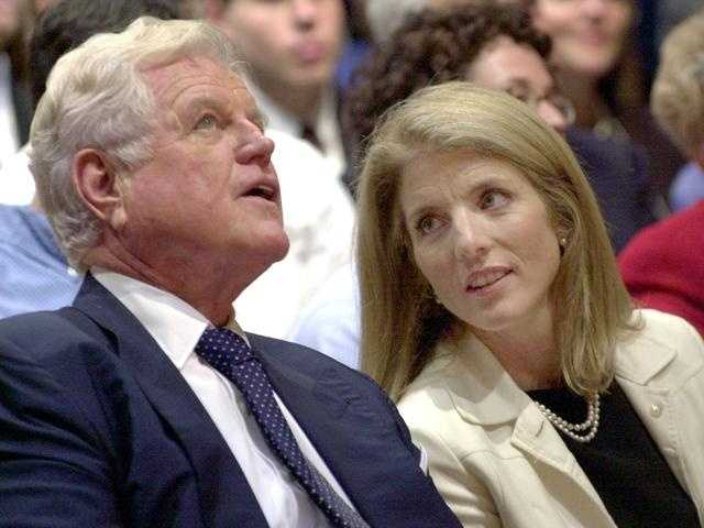 Sen. Edward Kennedy and Caroline during the dedication of the John F. Kennedy Jr. Forum of Public Affairs at Harvard, September 19, 2003.