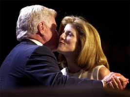 Caroline Kennedy Schlossberg shares a kiss at the podium of the Democratic National Convention with her uncle Ted Kennedy, August 15, 2000 in Los Angeles.