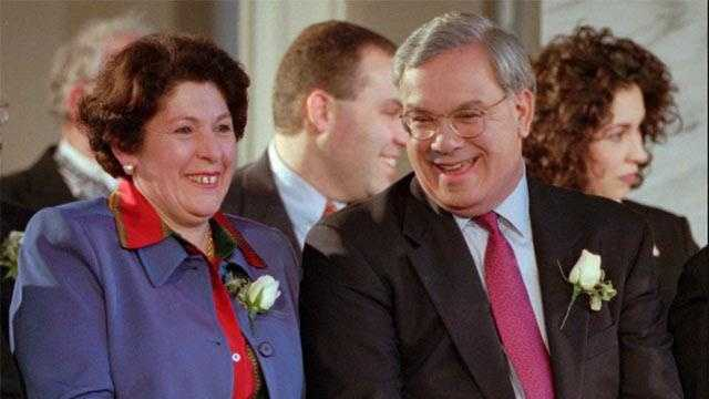 Menino laughs with his wife Angela during swearing-in ceremonies, Jan. 5, 1998 at Faneuil Hall, to begin Menino's second-term as mayor.
