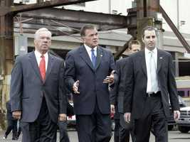 Secretary of Homeland Security Tom Ridge is briefed by Tom Menino before the 2004 Democratic National Convention in Boston.