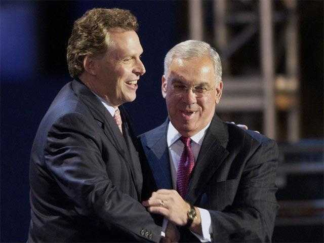 Democratic National Committee Chairman Terry McAuliffe greets Menino at the election night celebration November 2, 2004, in Boston.