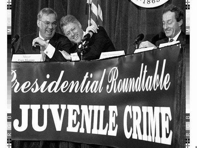President Bill Clinton, Menino and Police Commissioner Paul Evans laugh during a lighter moment of a discussion about juvenile crime, Feb. 19, 1997.