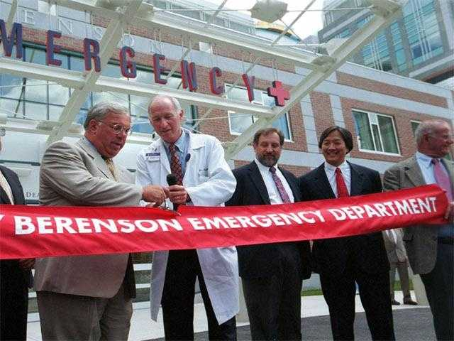 Menino cuts a ribbon to mark the opening of the new Beth Israel Deaconess Hospital Emergency room, July 16, 2001.
