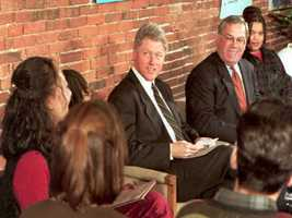 President Clinton, flanked by Mayor Menino, meets with members of the Mayor's Youth Council during a visit to the city January 31, 1995.