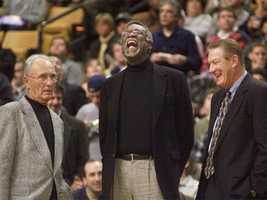 Bob Cousy with Bill Russell and John Havlicek at a ceremony honoring the parquet floor at the FleetCenter, Dec. 22, 1999.