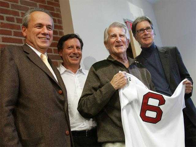 Pesky holding his No. 6 Jersey on Sept. 23, 2008, when the team announced his number would be retired.