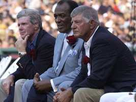 Yaz with former teammates Mike Andrews, left, Earl Wilson, center, July 22, 2002 during the Ted Williams tribute.