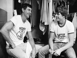 Yaz talks with his son Carl, Jr. at Yankee Stadium, Sept. 3, 1979