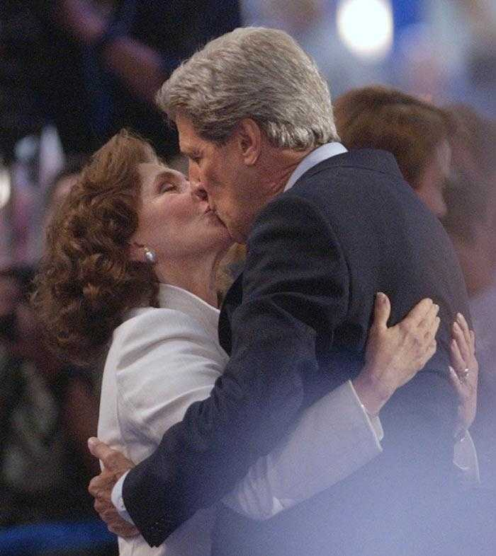Kerry hugs and kisses his wife Teresa Heinz Kerry after his acceptance speech during the Democratic National Convention in Boston.