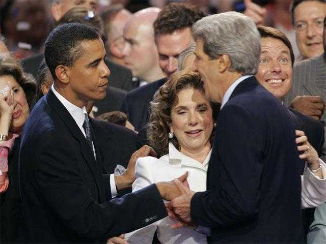 Kerry and wife, Teresa Heinz Kerry, celebrate with Barack Obama, after Kerry accepted the party's nomination at the Democratic National Convention in Boston, July 29, 2004.