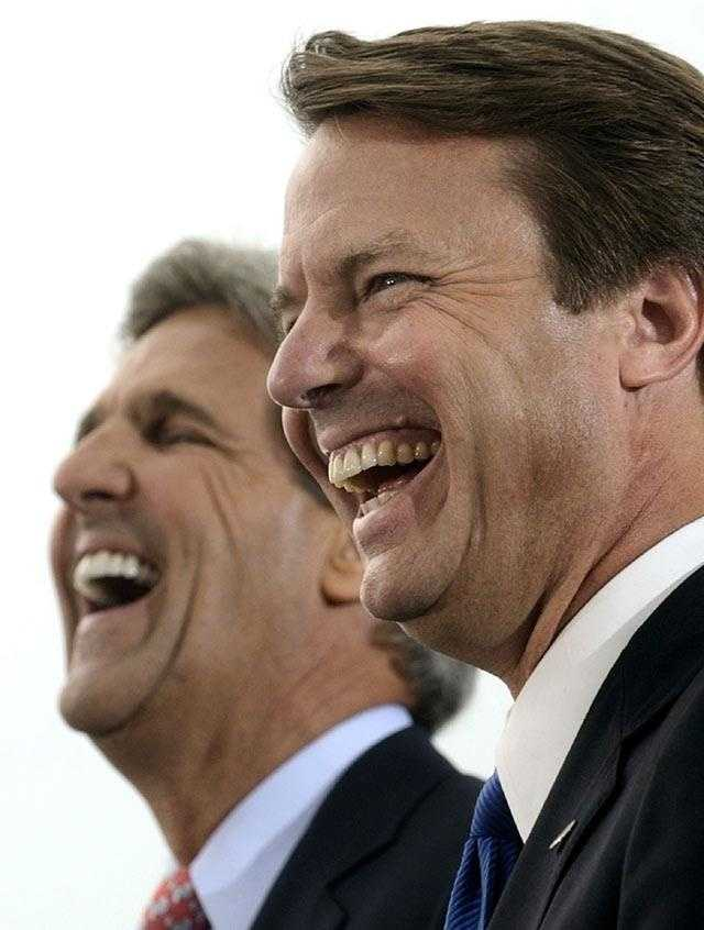 Kerry and his newly selected running mate Sen. John Edwards are seen in Cleveland, Ohio, July 7, 2004 during their first campaign rally together since Edwards selection.