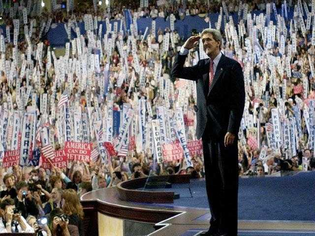 Kerry salutes during the Democratic National Convention at the FleetCenter in Boston, July 29, 2004.