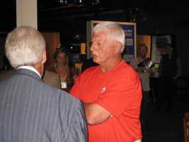 Yaz with ESPN's Peter Gammons at the Museum of Science Hall Of Fame Exhibit.