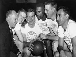 Red Auerbach, Frank Ramsey, Jim Loscutoff, Bill Russell, Tom Heinsohn and Bob Cousy in 1963.