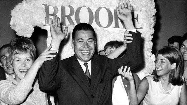 Brooke joins campaign workers in celebration, Sept 14, 1966 after winning the Republican nomination for U.S. Senate.