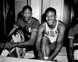 Future Celtics great K.C. Jones, captain of the University of San Francisco Dons, right, is shown with teammate Bill Russell, March 1, 1956.