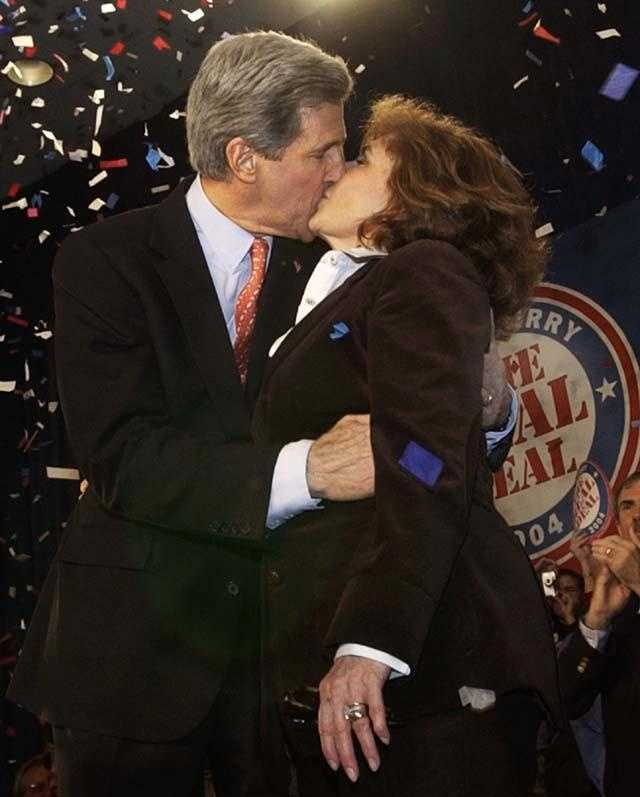 Kerry kisses his wife, Teresa Heinz Kerry, at a celebratory rally in Charleston, W. Va. March 16, 2004. Kerry's primary victory in Illinois put him over the top in the delegate count.