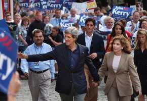 Kerry and his wife, Teresa Heinz, before addressing a crowd in Boston, Sept. 3, 2003, as part of a two-day presidential announcement tour.