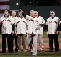Throwing out the first pitch of the 2007 World Series at Fenway against the Colorado Rockies with other members of the 1967 dream team.