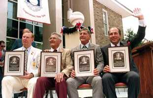 Induction into the Hall of Fame in Cooperstown, N.Y., July 23, 1989 with Red Schoendienst, Al Barlick and Johnny Bench.