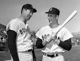 Ted Williams and Yastrzemski are shown at the Boston Red Sox spring training camp in Scottsdale, Ariz., March 1, 1963.