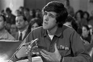 Kerry, a former navy lieutenant who was wounded three times in Vietnam and who won the silver star for heroism, speaks to the Senate Foreign Relations Committee on behalf of the Vietnam Veterans Against the War on April 22, 1971.