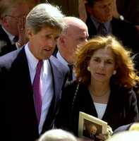 Kerry walks with his wife, Teresa Heinz, as they leave funeral services for U.S. Rep. Joseph Moakley at St. Brigids Church in South Boston June 1, 2001.