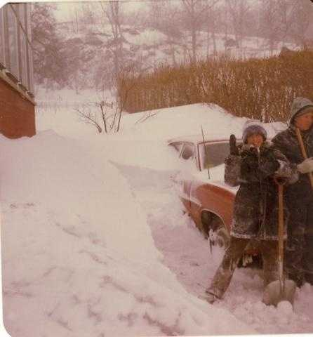Shoveling out the car