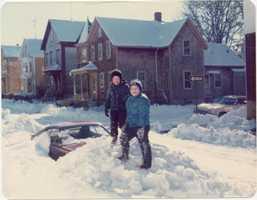 Children on Snow Plow Pile