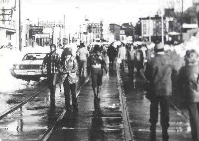 Walking in Boston on the MBTA tracks became the only path for pedestrians.