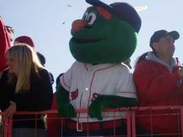 """The Red Sox mascot is even a big green furry monster named """"Wally."""""""