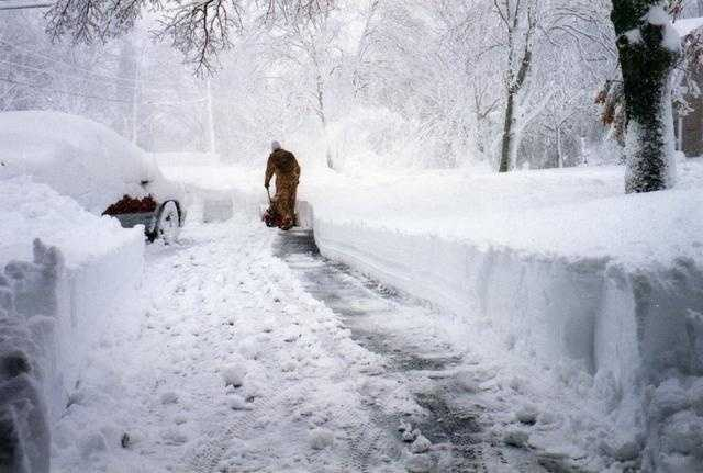 Snowblowing the driveway