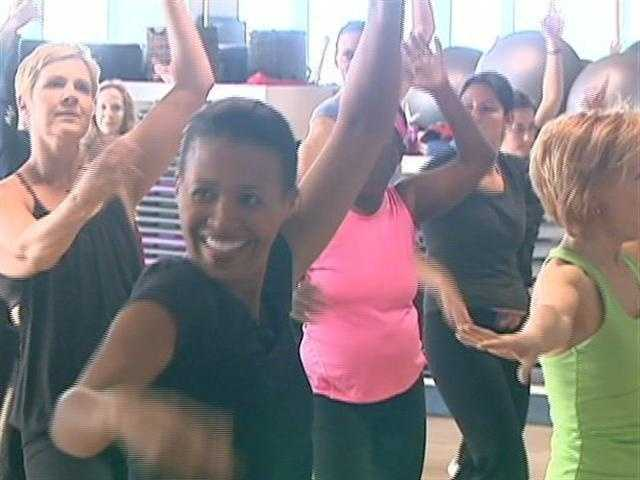 Shayna does Zumba, a popular, fast moving, high energy, workout.