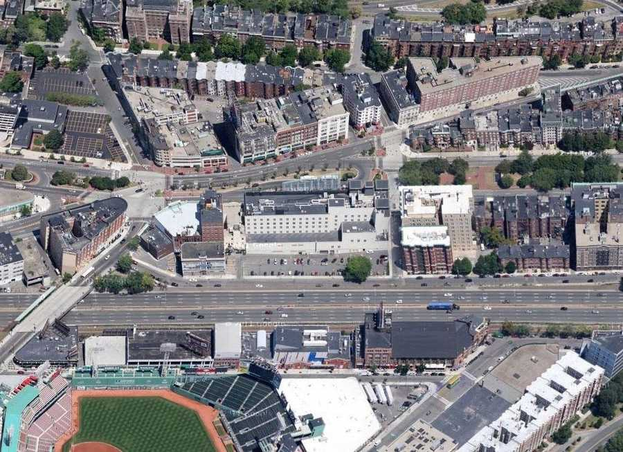 A view of Kenmore Square in 2012. Fenway Park can be seen at the bottom.