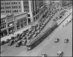 """Kenmore 1929: Streetcar tracks laid on Beacon Street in 1888 would eventually become the Green Line """"C"""" Branch. Tracks laid on Comm. Ave. in 1896 would later serve the Green Line """"A"""" Branch and Green Line """"B"""" Branch."""