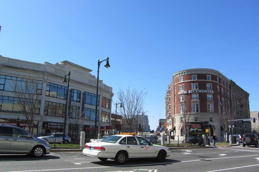 The Buckminster Hotel overlooks the intersection of Beacon, Commonwealth and Brookline avenues.