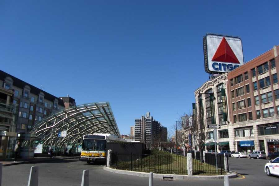 The Kenmore Square bus station sits between Commonwealth Avenue and Beacon Street.